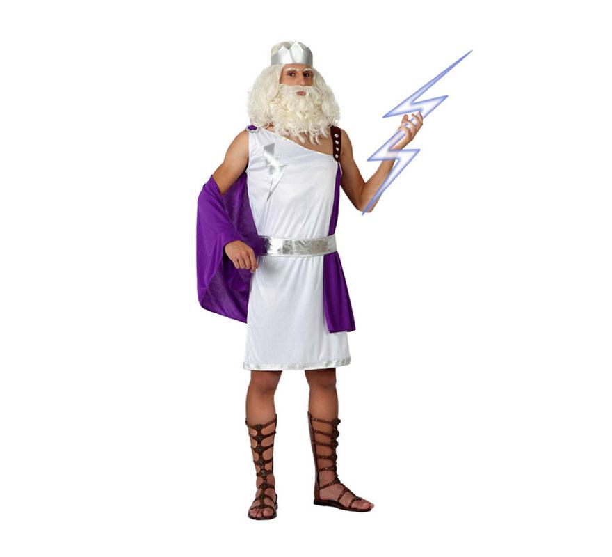 Disfraz de Dios Griego para hombre. Talla 3 ó talla XL = 54/58. Incluye túnica con manto, cinturón y corona. También puede servir como disfraz de Neptuno.
