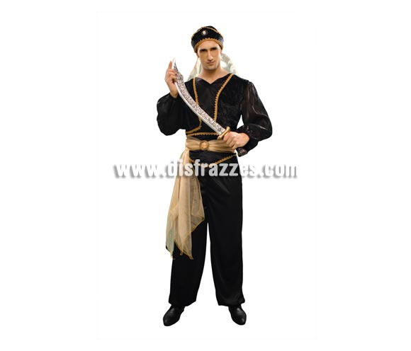 Disfraz Sultán del Desierto para hombre. Talla standar M-L = 52/54. Incluye chaqueta, pantalón, cinturón y gorro. Espada NO incluida, podrás ver espadas en la sección de Complementos - Armas. También podría servir como disfraz de Paje para Navidad.