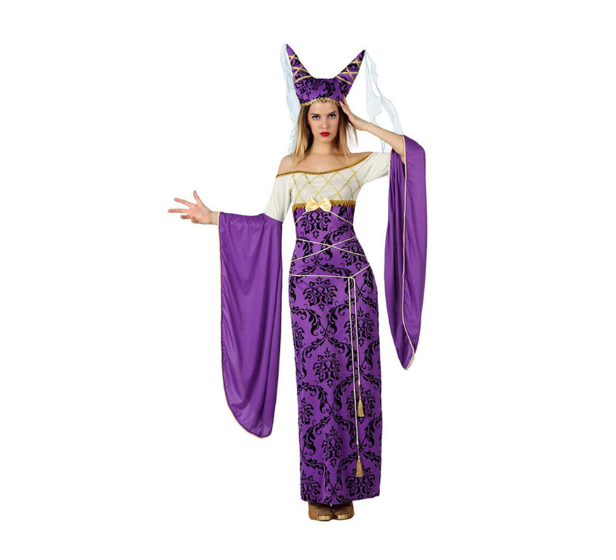 Disfraz de Dama Medieval para mujer. Talla 2 ó talla M-L = 38/42. Incluye vestido y gorro.