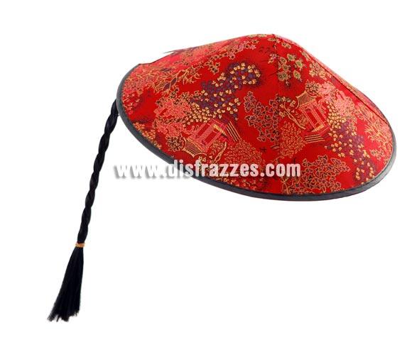 Sombrero o Gorro de Chino rojo con trenza 33,5x18 cm.