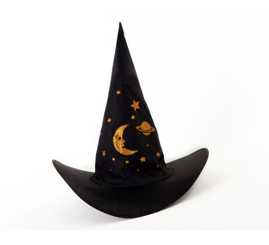 Sombrero de Bruja con estrellas 40x40 cm. perfecto para Halloween.