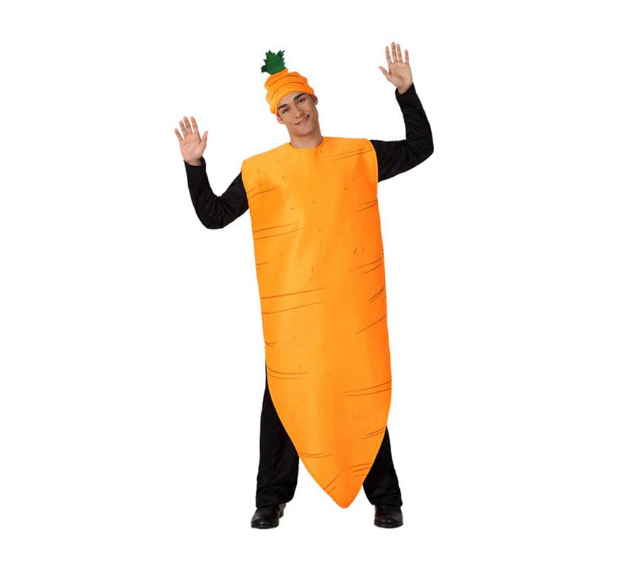 Disfraz de Zanahoria para adultos. Incluye disfraz de zanahoria y gorro. Al ser un disfraz de talla universal puede valer para mujeres y hombres.