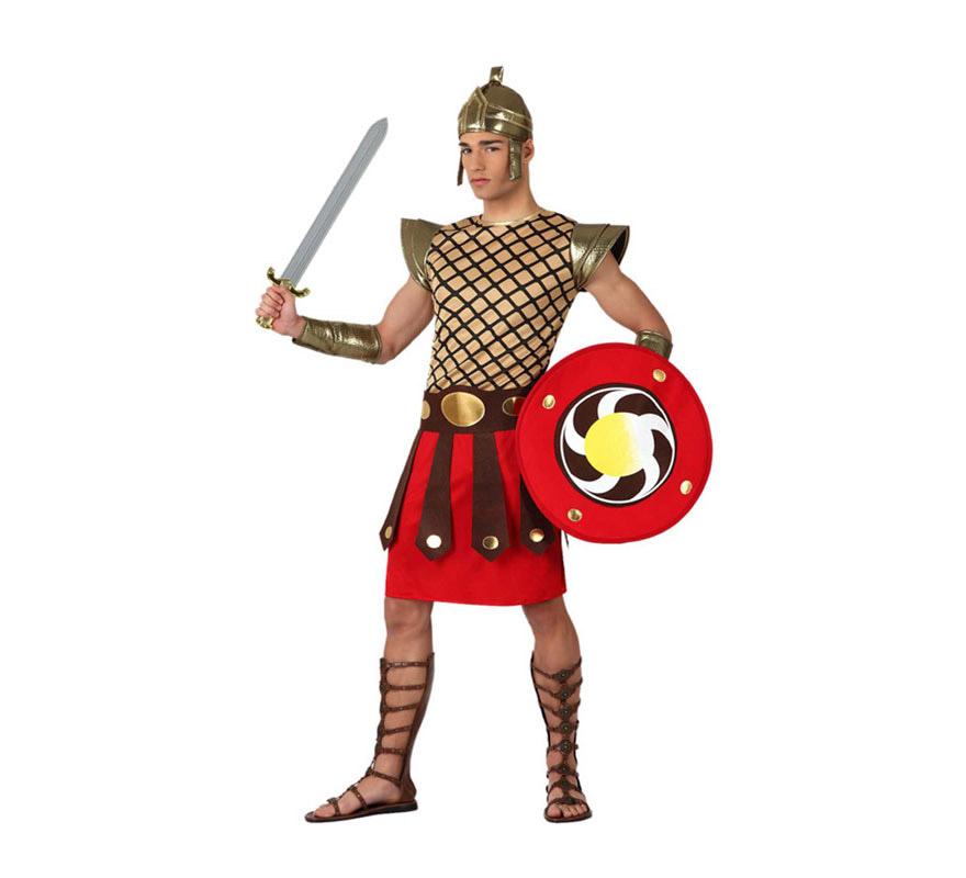 Disfraz de Gladiador o Guerrero Romano para hombre. Talla 2 o talla M-L = 52/54. Incluye disfraz completo CON escudo. Espada y sandalias NO incluidas, podrás encontrar en la sección de Complementos.