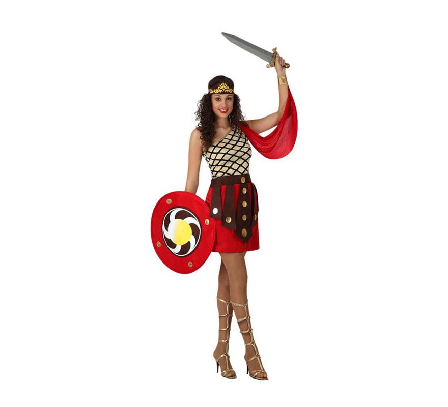 Disfraz Gladiadora o Guerrera Romana con escudo para mujer. Talla 2 o talla M-L = 38/42. Incluye vestido con capa y muñequera, tocado y escudo. La espada la podrás ver en la sección de Complementos - Armas.