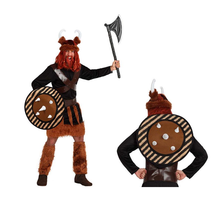 Disfraz de Vikingo para hombre. Talla 2 o talla M-L = 52/54. Incluye túnica, cinturón y escudo. Hacha, gorro, cubrebotas y peluca NO incluidos.