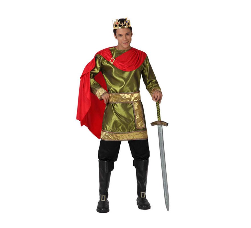 Disfraz de Rey Medieval para hombre. Talla M-L = 52/54. Incluye casaca con capa, pantalón y cinturón. Corona, espada y cubrebotas NO incluido, podrás encontrarlo en la sección de Complementos.