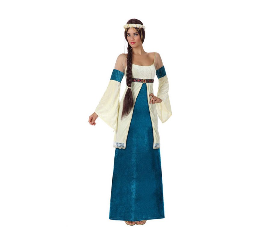 Disfraz de Dama Medieval para mujer. Talla 1  talla S = 34/38 para chicas delgadas y adolescentes. Incluye vestido y tocado.