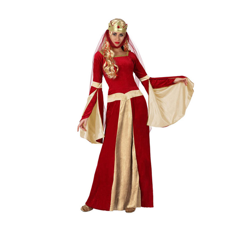 Disfraz de Dama Medieval o Lady Ginebra para mujer. Talla 1 o talla S = 34/38 para chicas delgadas y adolescentes. Incluye vestido y tocado. Un disfraz ideal para Fiestas y Ferias Medievales.