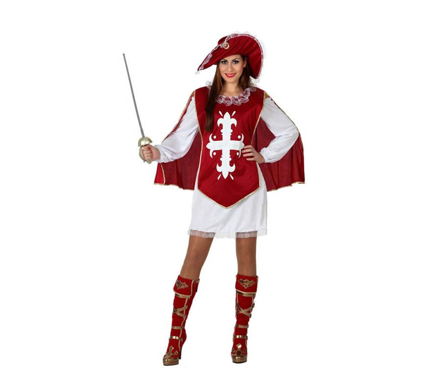 Disfraz barato de Mosquetera Granate para chicas talla S