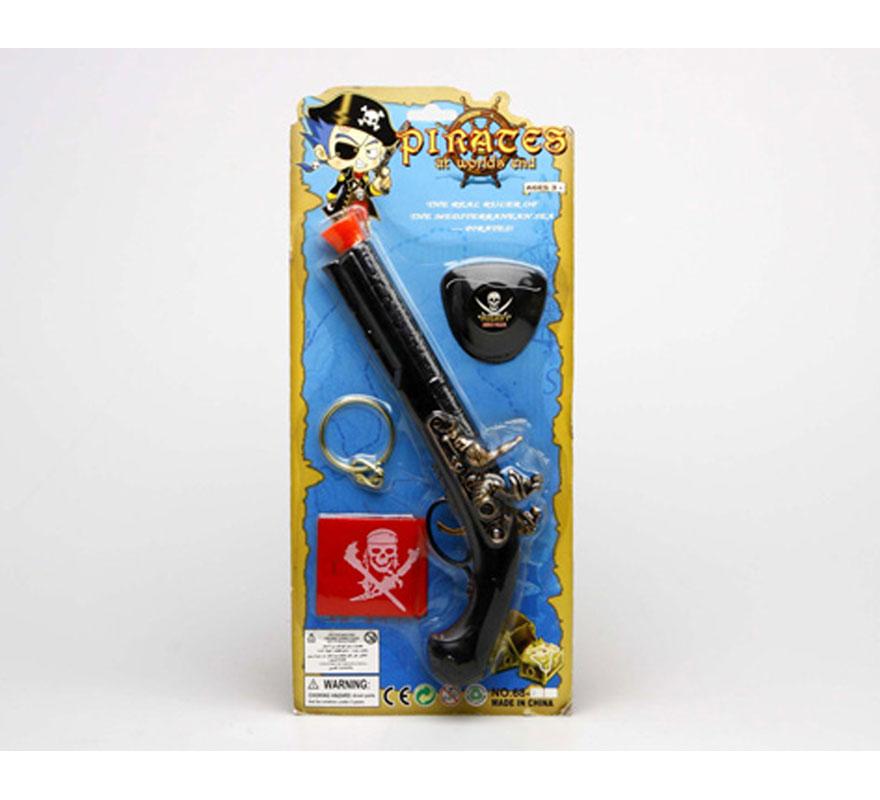Set de Pirata con trabuco y 3 accesorios. Contiene varios artículos ideales para disfraces de Piratas.