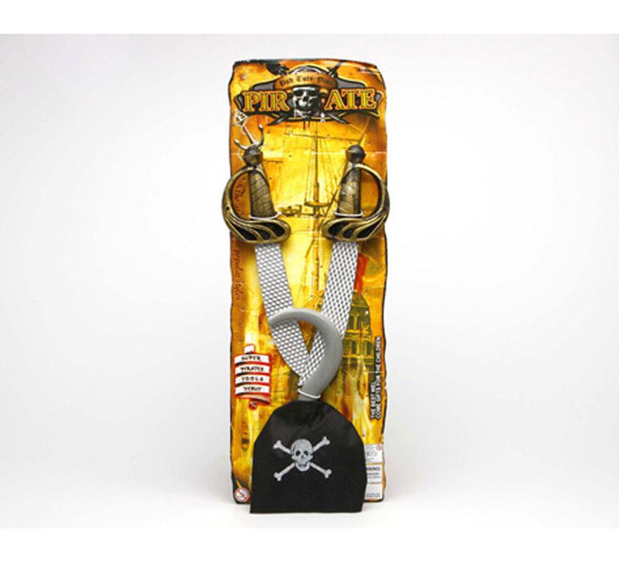 Set de Pirata con accesorios. Incluye garfio y 2 espadas.