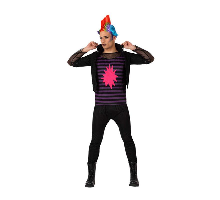 Disfraz de Rockero o de Punky para hombre. Talla M-L = 52/54. Incluye pantalón, camiseta y chaqueta. Peluca NO incluida, podrás verla con la referencia 16594AT.