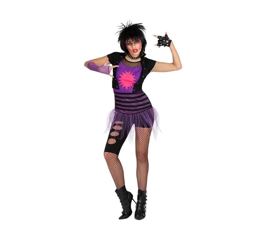 Disfraz de Rockera o de Punky para mujer. Talla M-L = 38/42. Incluye pantalón, tutú y camiseta. Resto de accesorios NO incluidos, podrás verlos en la sección de Complementos.