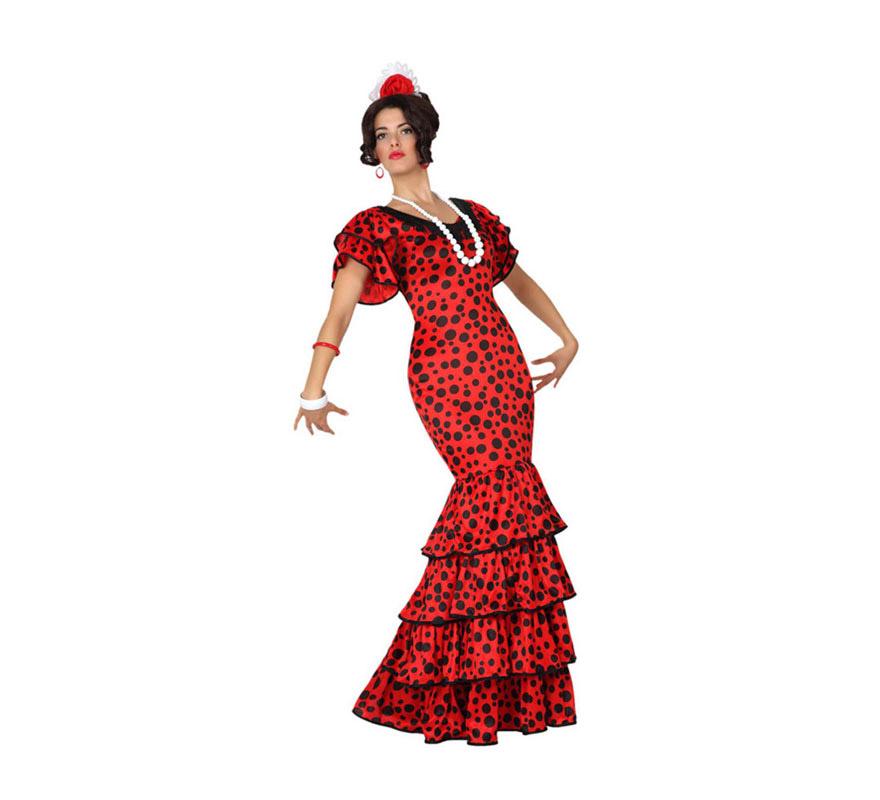 Disfraz de Flamenca rojo a lunares para mujer. Talla XL = 44/48. Incluye vestido. Resto de accesorios NO incluidos, podrás verlos en la sección de Complementos. Disfraz de Sevillana o Gitana perfecto para la Feria.