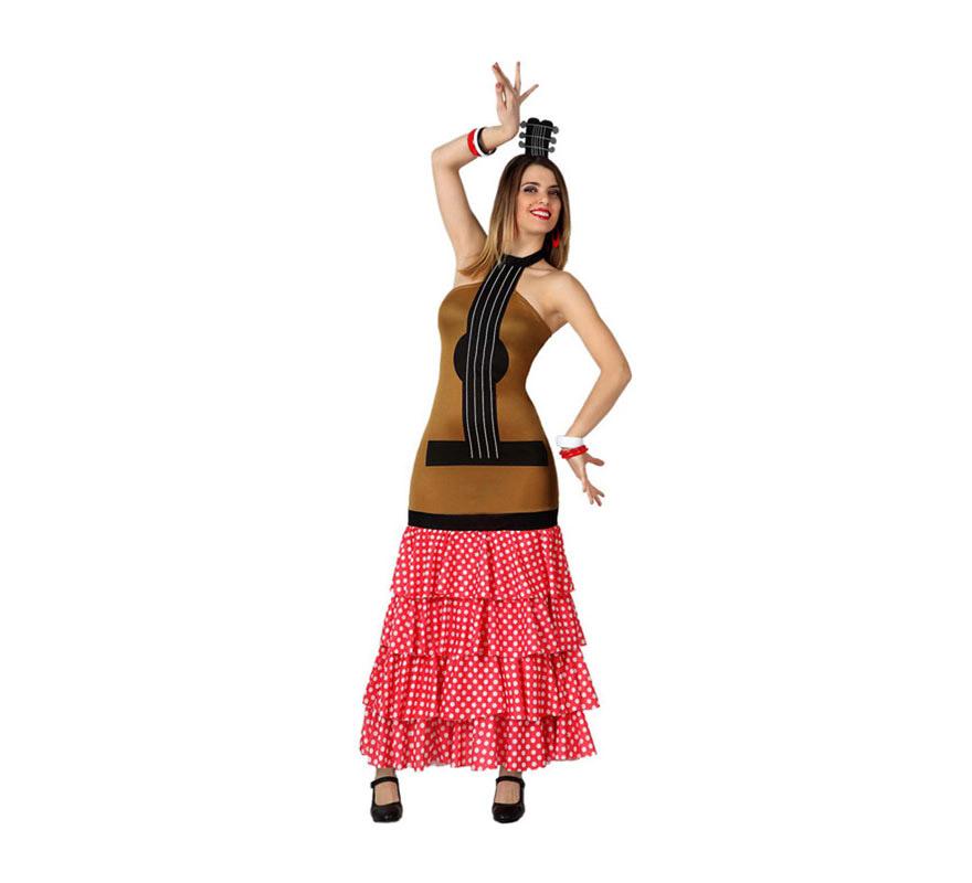 Disfraz de Guitarra Flamenca con volantes para chicas. Talla 1 o talla S = 34/38 para chicas delgadas y adolescentes. Incluye vestido y tocado. Ideal para una Fiesta Española.