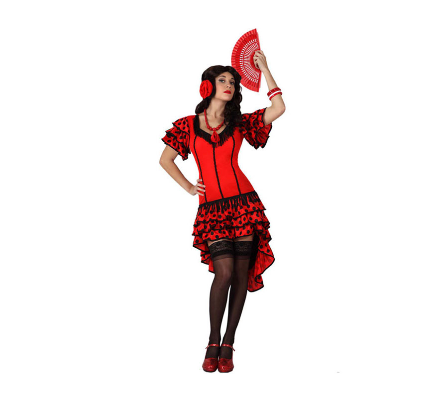 Disfraz barato de Flamenca rojo para mujer talla M-L