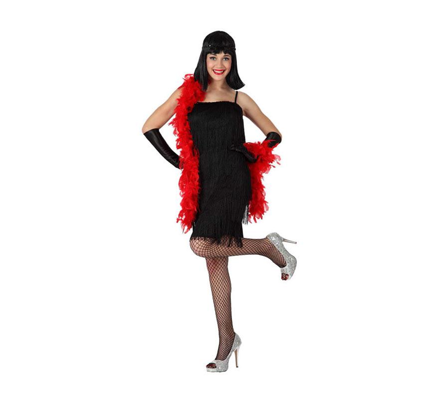 Disfraz de Cabaretera o de Charlestón para mujer. Talla 3 ó talla XL = 44/48. Incluye vestido. Resto de complementos NO incluidos, podrás encontrar algunos en la sección de Complementos.