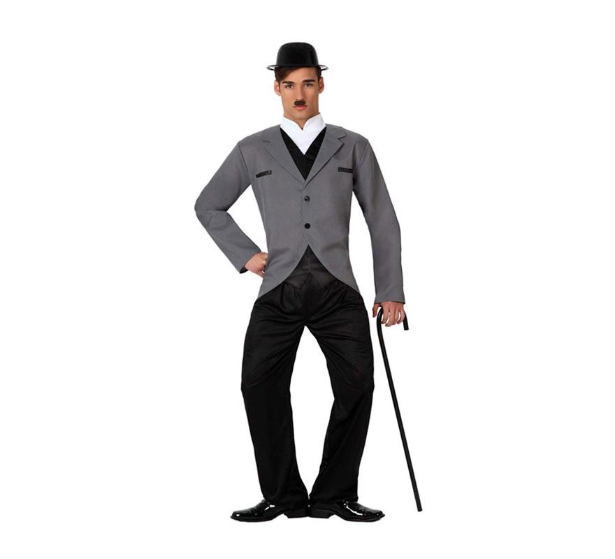 Disfraz de Estrella de Cine o de Charlie Chaplin para hombre. Talla 2 ó talla M-L = 52/54. Incluye chaqueta y pantalón. Resto de accesorios NO incluidos, podrás verlos en la sección de Complementos.