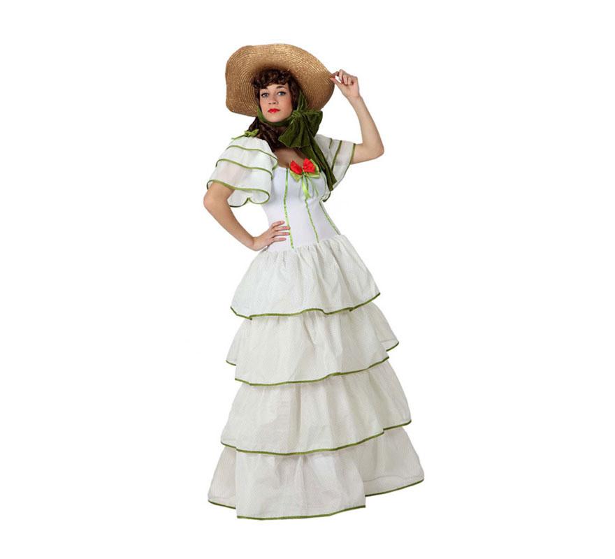 Disfraz de Dama Sureña para chicas. Talla 1 o talla S = 34/38 para chicas delgadas y adolescentes. Incluye vestido. Disfraz del Oeste de la Guerra de Secesión Americana. Perfecto para imitar a Scarlett O'Hara o Escarlata O'Hara de la inolvidable película