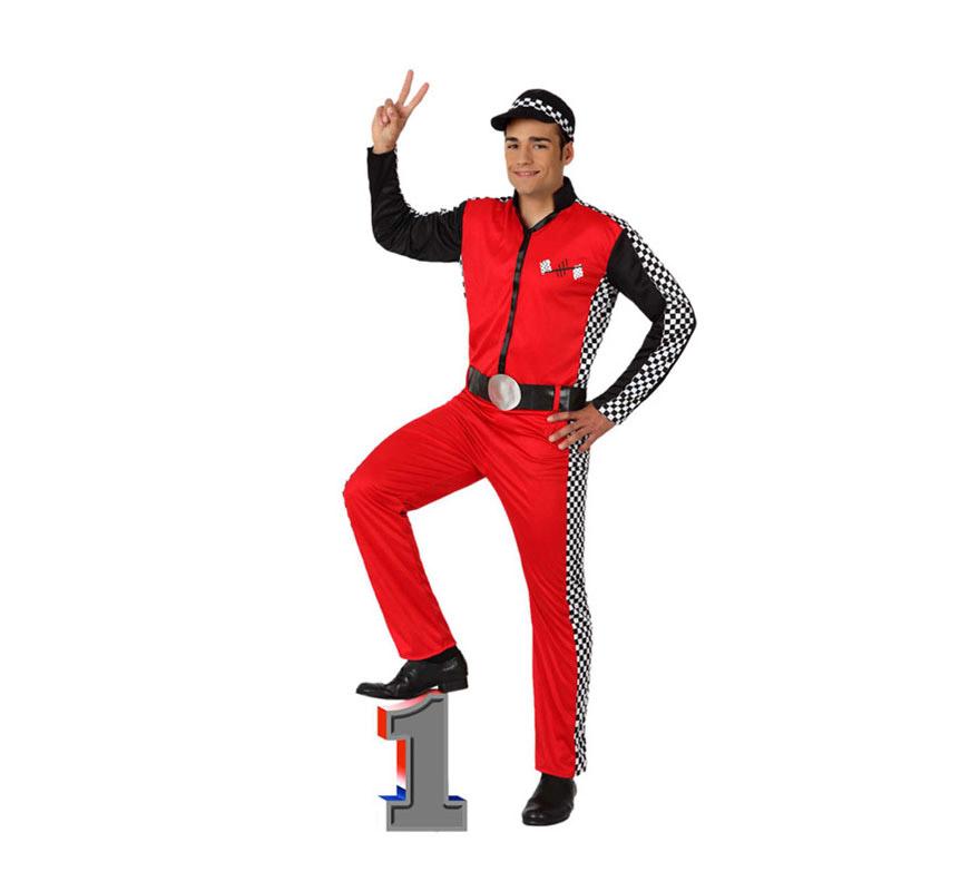 Disfraz de Piloto Carreras para hombre. Talla 2 ó talla M-L = 52/54. Incluye mono, cinturón y gorra. Con éste disfraz serás el campeón de la Formula 1.