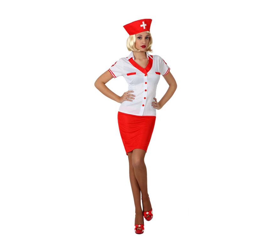 Disfraz de Enfermera Sexy para mujer. Talla 1 ó talla S = 34/38 para chicas delgadas y adolescentes. Incluye camisa, falda y tocado. Zapatos y Peluca NO incluidos. La peluca podrás verla en la sección de Complementos.