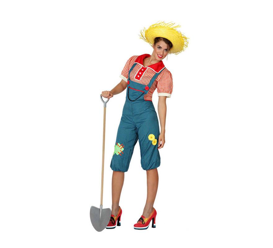 Disfraz de Granjera para mujer. Talla 2 ó talla M-L = 38/42. Incluye mono y camisa. Sombrero de paja, zapatos y pala NO incluidos. El sombrero y la pala lo podrás ver en la sección de Complementos.