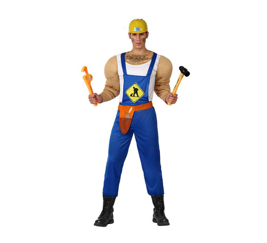 Disfraz de Albañil Musculoso para hombre. Talla 2 o talla M-L = 52/54. Incluye mono, cinturón y pecho musculoso. El casco de Obrero y las herramientas lo podrás ver en la sección de Complementos. Con éste disfraz podrás imitar a los Village People, jejeje, qué bueno.