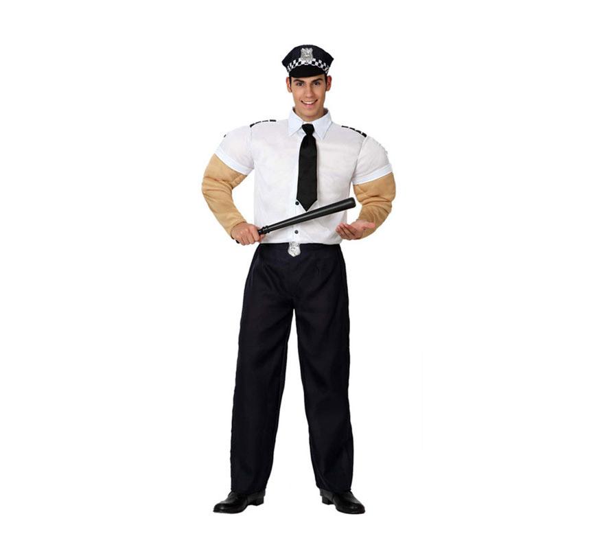 Disfraz de Policía Musculoso para hombre. Talla 2 o talla M-L = 52/54. Incluye disfraz completo SIN la porra, la podrás ver en la sección de Armas. Disfraz de Policía ideal para imitar a los Village People, jejeje, qué fuerte.