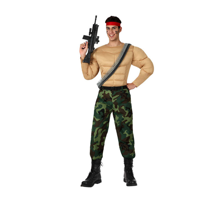 Disfraz de Militar Musculoso o de Camuflaje Forzudo para hombre. Talla 2 o talla M-L = 52/54. Perfecto para disfrazarse de RAMBO. Incluye pantalón, cinturón, pecho musculoso y cinta para la cabeza. La metralleta y el cinturón de balas lo podrás encontrar en la sección de Complementos.