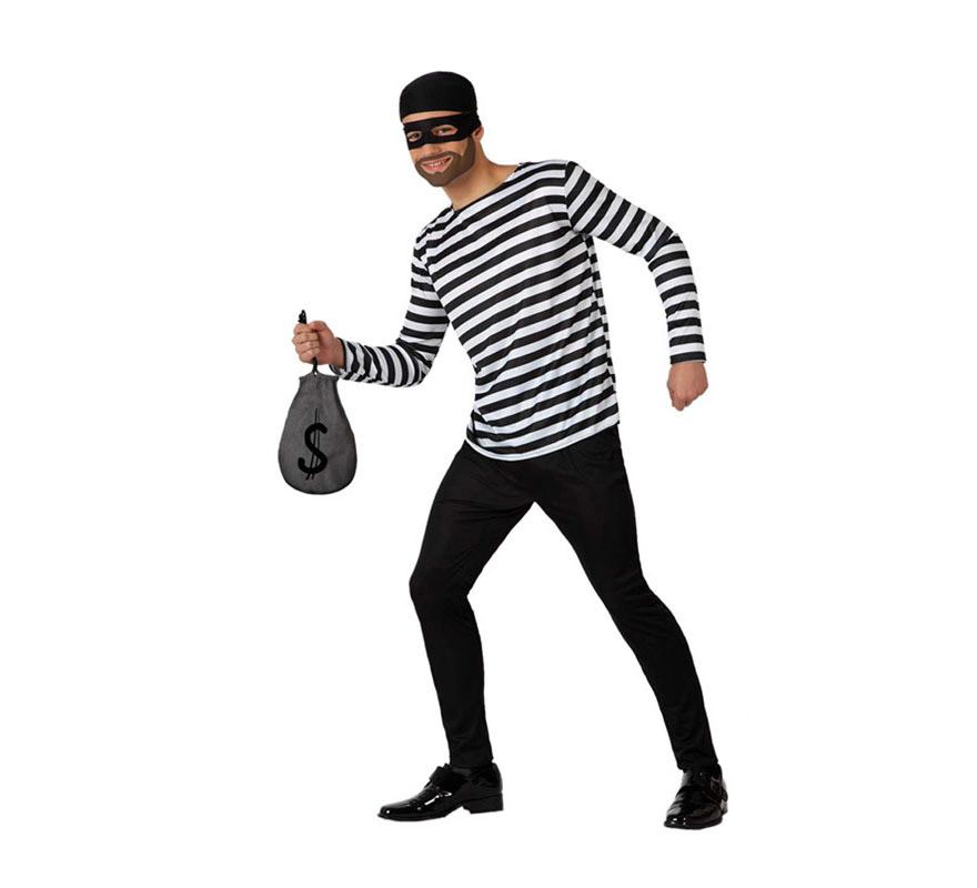 Disfraz de Ladrón para hombre. Talla 2 o talla M-L = 52/54. Incluye pantalón, camiseta, antifaz y pañuelo para la cabeza. La bolsa la podrás encontrar con la referencia: 18202GUI.