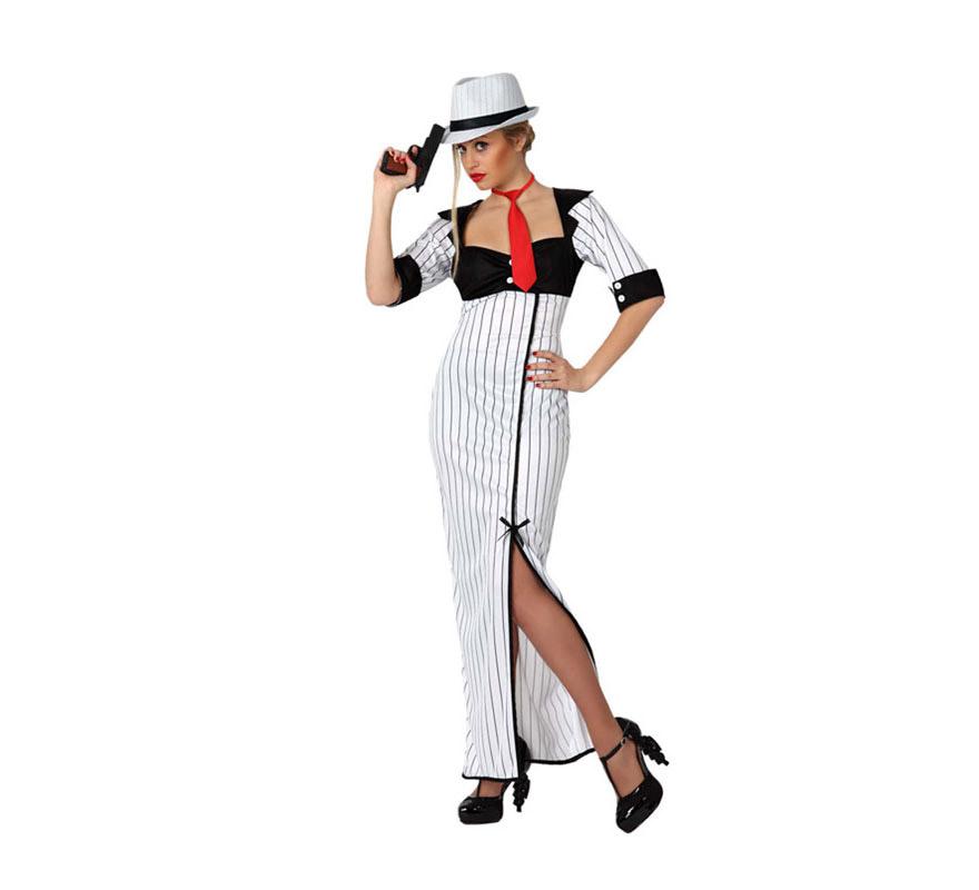 Disfraz de Mafiosa o Gánster para mujeres. Talla 1 ó talla S = 34/38 para chicas delgadas y adolescentes. Incluye vestido y corbata. Los complementos los podrás ver en la sección de Complementos.