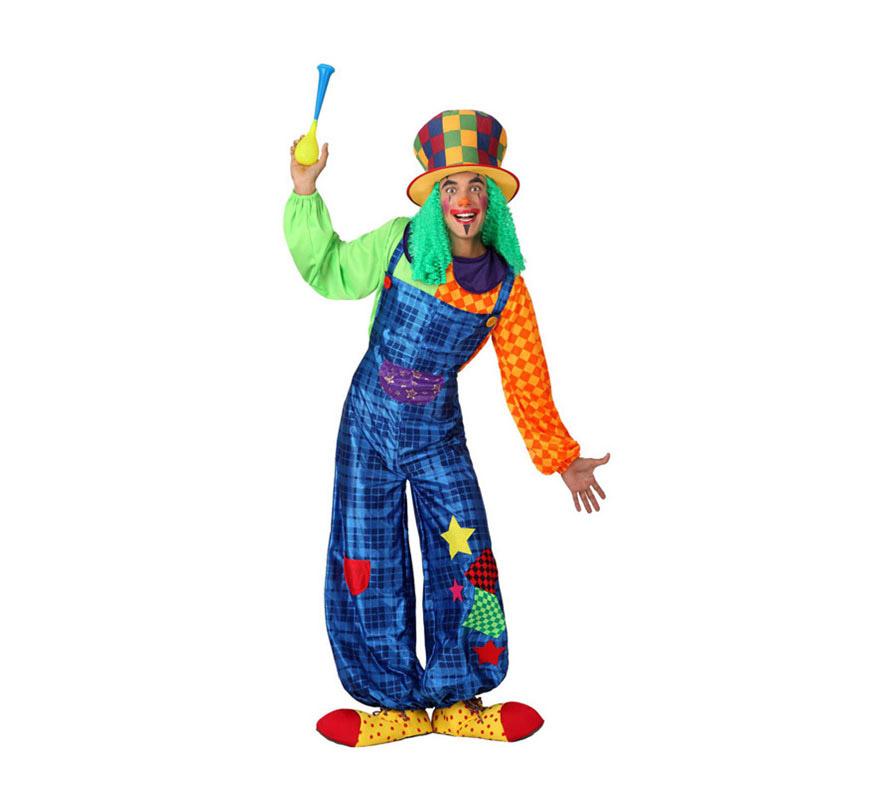 Disfraz de Payaso colores para hombres. Talla 3 ó talla XL= 54/58. Incluye mono y camiseta. Bocina, zapatos y chistera con pelo NO incluido, lo podrás encontrar en la sección de Complementos.