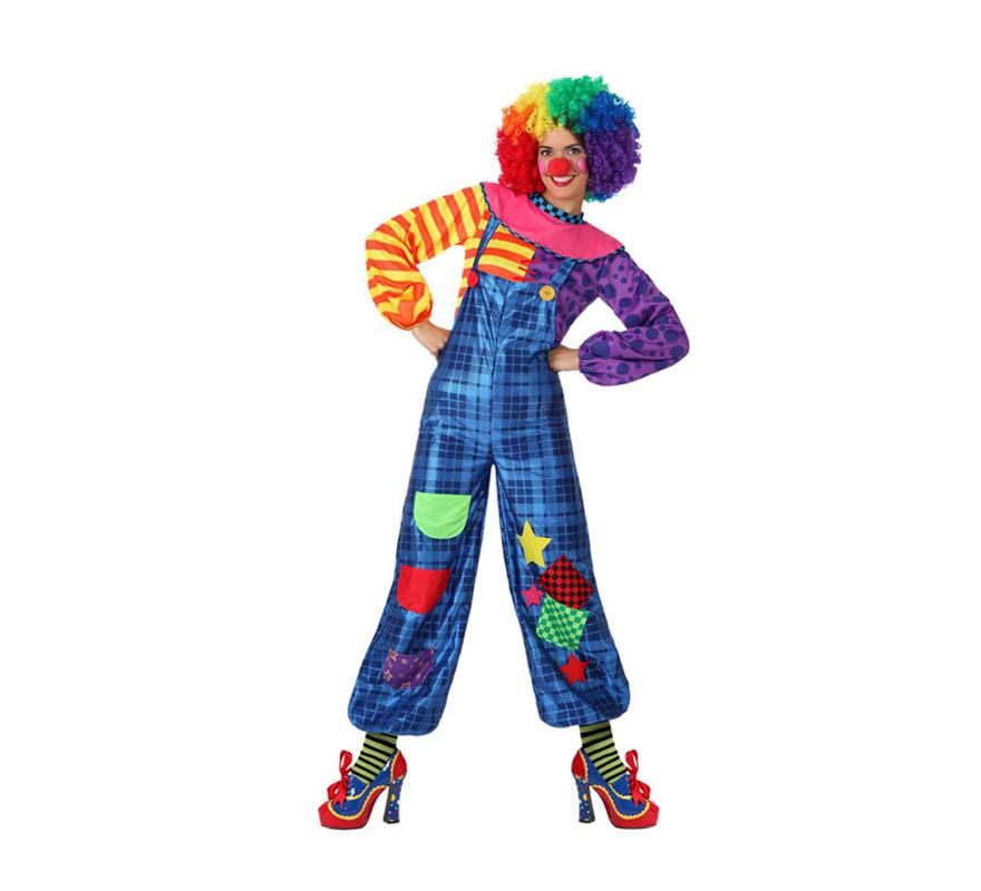 Disfraz de Payasa colores para mujeres. Talla 2 ó talla M-L = 38/42. Incluye camisa y mono. Resto de accesorios NO incluidos, los podrás ver en la sección de Complementos.