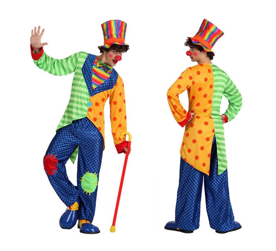 Disfraz de Payaso Divertido para hombre. Talla 3 ó talla XL = 54/58. Incluye pantalón, chaqueta y gorro. Nariz, zapatos y bastón NO incluidos, podrás verlos en la sección de Complementos.