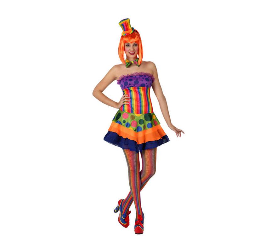 Disfraz de Payasa Sexy para mujer. Talla 2 ó talla M-L = 38/42. Incluye vestido, pajarita y diadema con chistera. Peluca, medias y zapatos NO incluidos. La peluca y las medias las podrás ver en la sección de Complementos.