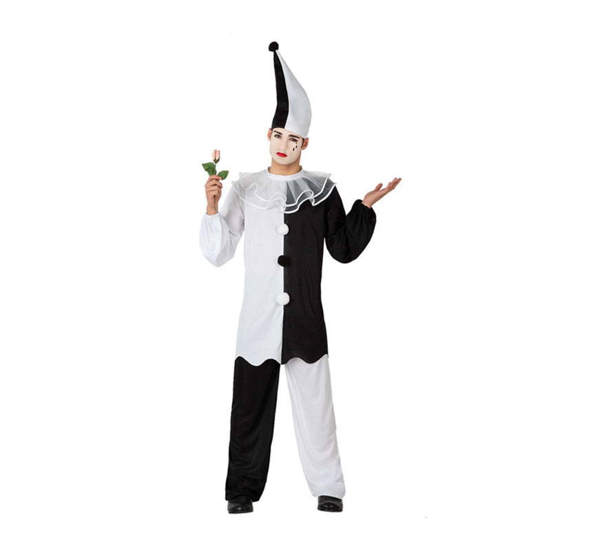 Disfraz de Pierrot o Arlequín para hombre. Talla 2 ó talla M-L = 52/54. Incluye gorro, camiseta y pantalón.