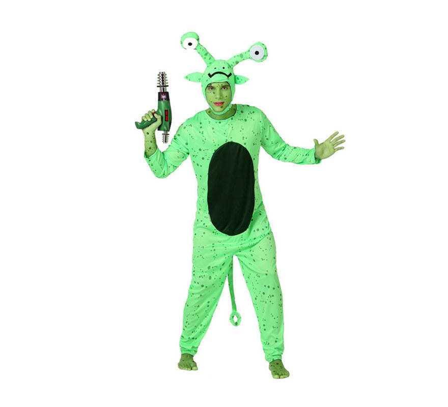 Disfraz de Extraterrestre o Marciano para hombre. Talla 2 ó talla M-L = 52/54. Incluye mono y gorro.