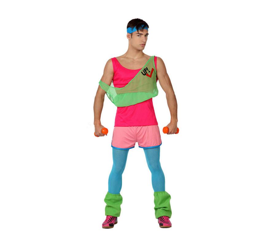 Disfraz de Chico de Gimnasio o de Gimnasta para hombre. Talla 3 ó talla XL = 54/58. Incluye Incluye calentadores, pantalón corto, cinta de la cabeza, camiseta rosa y camiseta verde. Pesas, medias y zapatillas No incluidas. Tenemos una pesa con la referencia 13408AT.