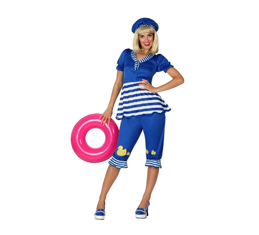 Disfraz de Bañista para mujer. Talla 3 ó talla XL = 44/48. Incluye pantalón, camiseta y gorro. Peluca, flotador y zapatos NO incluidos. Ideal para Despedidas de Soltera.
