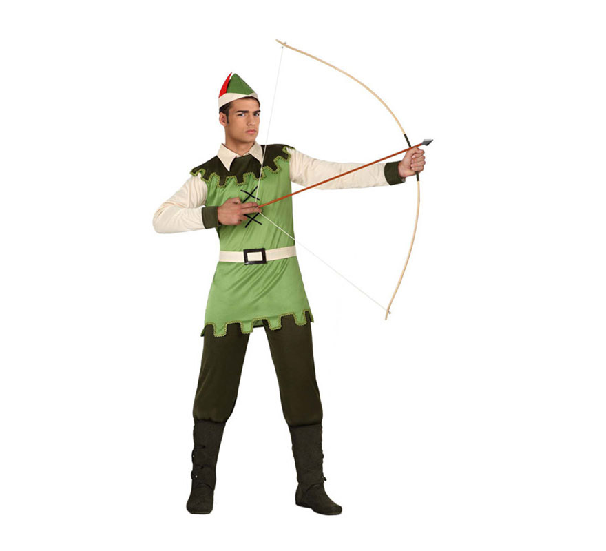 Disfraz Chico del Bosque para hombre. Talla 3 ó talla XL 54/58. Incluye disfraz completo SIN cubrebotas, NI arco. El arco lo podrás ver en la sección de Complementos. Disfraz de Robin Hood para hombre.