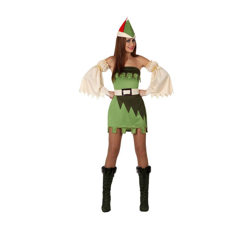 Disfraz de Chica del Bosque Sexy para mujer. Talla 3 o talla XL = 44/48. Incluye gorro, vestido, mangas y cinturón. Con este disfraz podrás ser la pareja de Robin Hood.