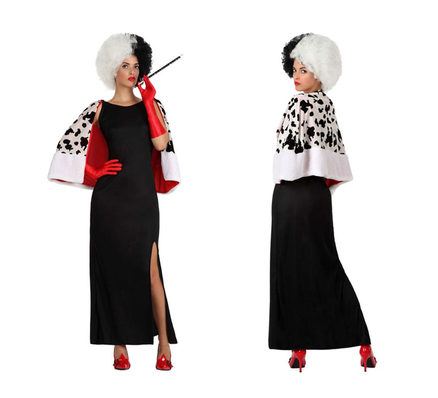 Disfraz de Mujer Cruela para chicas. Talla 1 o talla S = 34/38 para chicas delgadas y adolescentes. Incluye vestido y capa. Boquilla, guantes y peluca NO incluidos, podrás verlos en la sección de Complementos. Con este disfraz podrás imitar a Cruella de Vil.