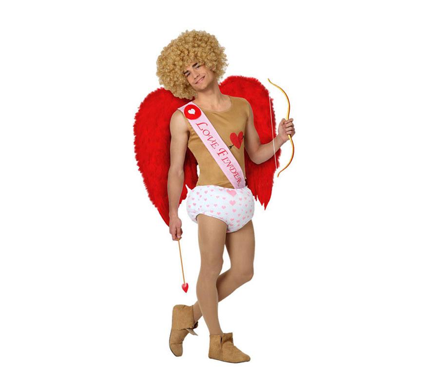 Disfraz de Cupido para hombre. Talla 3 ó talla XL = 54/58. Incluye camiseta, banda y pañal. Resto de complementos NO incluidos, podrás verlos en la sección de Complementos. Ideal para Despedidas de Soltero.