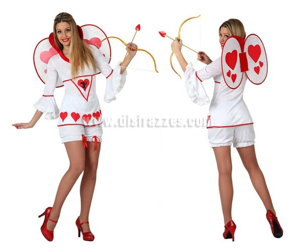 Disfraz de Cupido para mujeres. Talla 3 ó talla XL = 44/48. Incluye disfraz completo SIN arco y flecha y SIN zapatos. El arco lo podrás ver en la sección de Complementos. Perfecto para Despedidas de Soltera.
