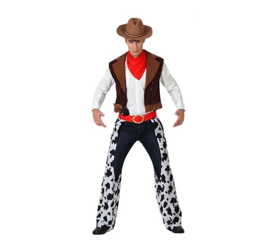 Disfraz de Vaquero para hombre. Talla 2 o talla M-L = 52/54. Incluye chaleco, pañuelo y zahones con cinturón. El sombrero de Cowboy lo verás en la sección de Gorros y Sombreros