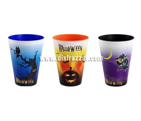 Set de 3 vasos Grafic Medium de 0,43 Litros. Perfectos para la bebida de los niños en Halloween. El precio incluye 3 vasos de los modelos surtidos. Medidas: alto 13,5cm x Ø 8,5cm.