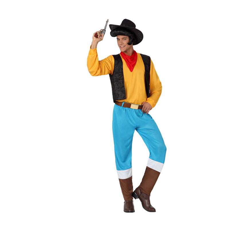 Disfraz de Vaquero para hombre. Talla 2 ó talla M-L = 52/54. Incluye disfraz completo SIN pistola y SIN sombrero. Ideal para imitar a Lucky luke y a Woody de Toy Story.