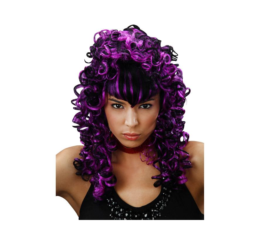 Peluca rizada de Vampiresa púrpura con flequillo liso.