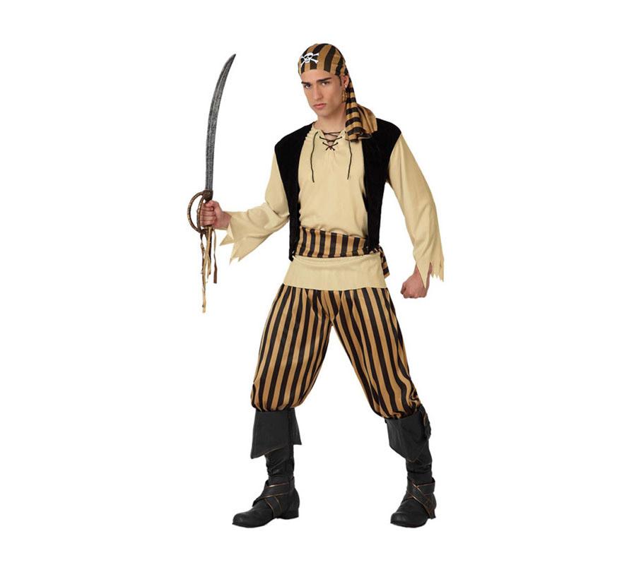 Disfraz de Pirata Calavera para hombre. Talla 2 o talla M-L = 52/54. Incluye disfraz completo SIN espada y cubrebotas, lo podrás encontrar en la sección de Complementos.
