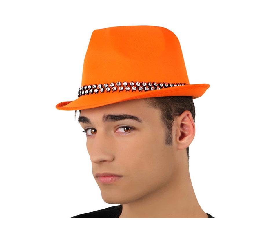 Sombrero Ganster naranja con banda de brillantes. Ideal para Despedidas de Soltero y Soltera.
